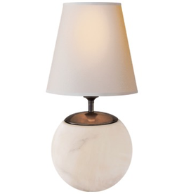 Visual Comfort Terri Large Round Table Lamp in Alabaster with Natural Paper Shade