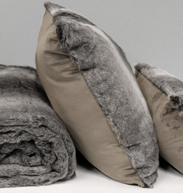 Alamode Grey Fur Cushion with Feather Filler