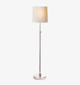 Visual Comfort VC Bryant Floor Lamp in Polished Nickel with Natural Paper Shade