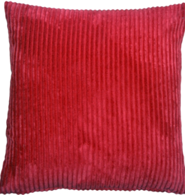 Pillow Decor Corduroy Red 22X22 Cushion with Featherr Filler