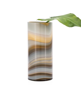 """Torre & Tagus Mesa Marbled Amber and Smoke Swirl Glass 12""""H Cylinder Vase"""
