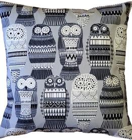Pillow Decor Midnight Owl Cotton Print Throw Pillow 17x17 with Feather Filler