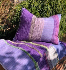 Tara Roblin Tara Roblin Textiles 14 x 18  Shades of Lavender Cushion with feather filler
