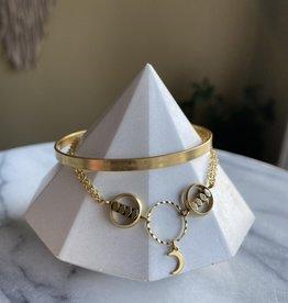 KR Jewelry Signature Cuff - Slim hematite/moon