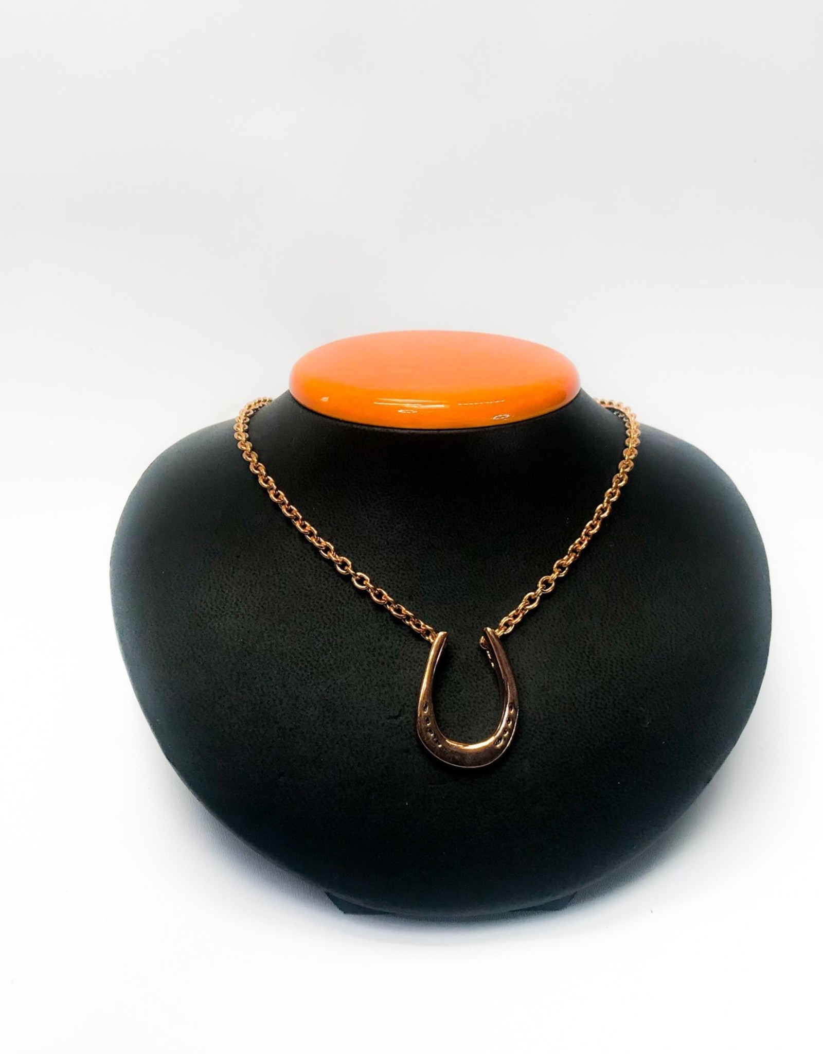 Michel McNabb Rose Gold Large Horseshoe Pendant Necklace