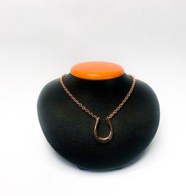 Michel McNabb Rose Gold Large Horseshoe Pendant Necklace