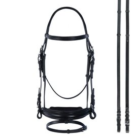 Bobby's English Tack Padded Wide Crank Bridle with Flash Bridle