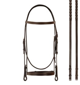 Bobby's English Tack Plain Raised with Gold Stitch Bridle