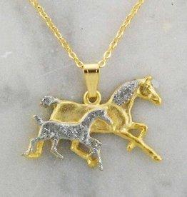 Silver Glitter Mare & Foal Necklace