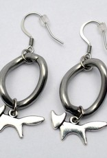 itsahorseything Stainless Steel Curb Single Link Earrings with Fox Charm