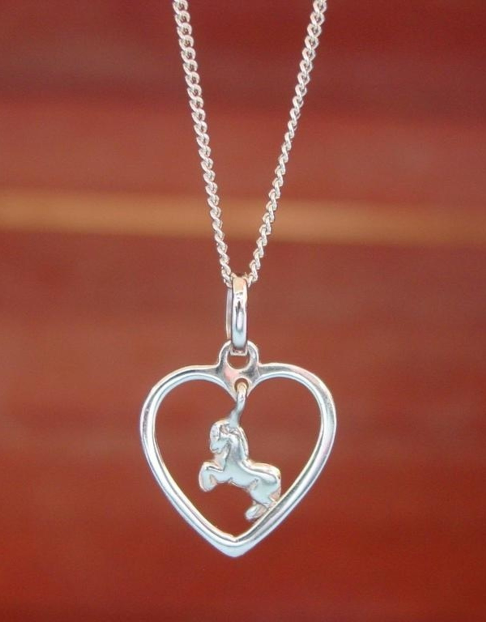 Galloping Horse in Heart Pendant Necklace