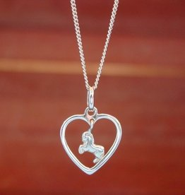 Baron Galloping Horse in Heart Pendant Necklace