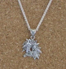 Marcasite Horse Head Pendant Necklace