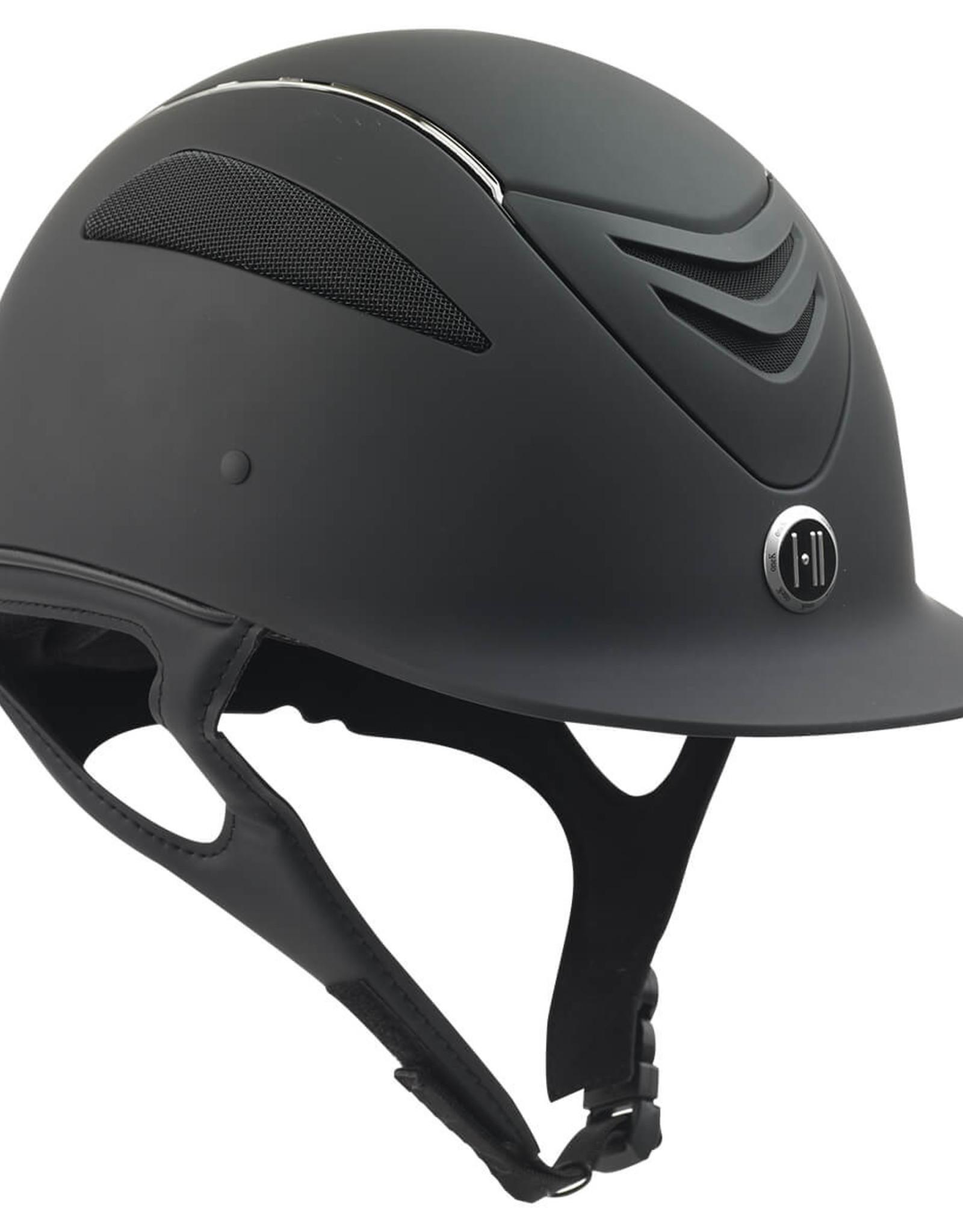 One K Defender Smooth Matte Chrome Stripe Helmet