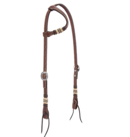 Weaver Basketweave Sliding Ear with Rawhide Accents Headstall