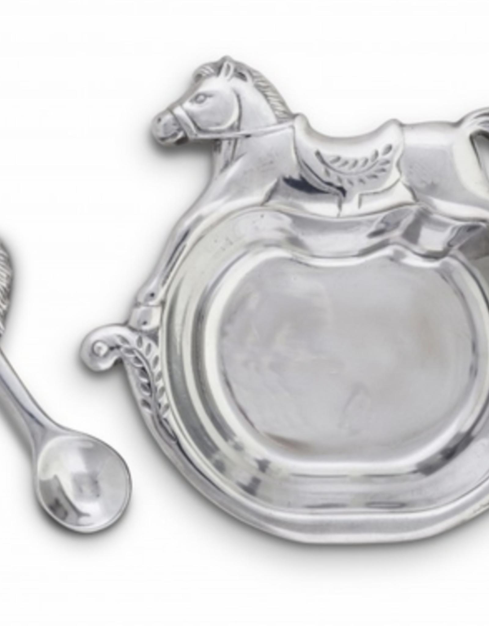 Arthur Court Arthur Court Rocking Horse Plate & Spoon Keepsake Set