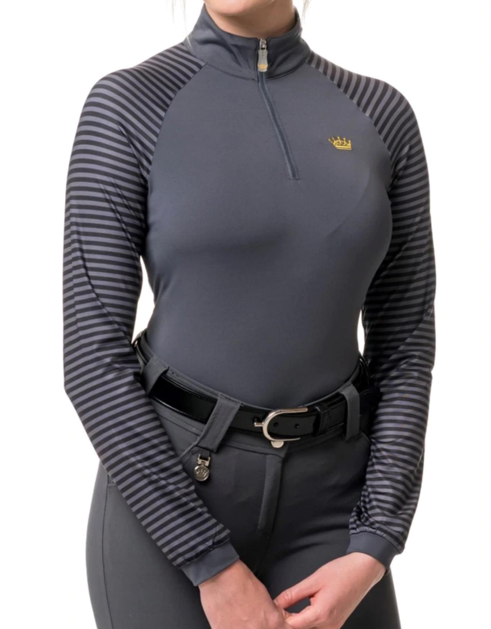 Kastel Ladies' 1/4 Zip Medium Weight Striped Long Sleeve Shirt