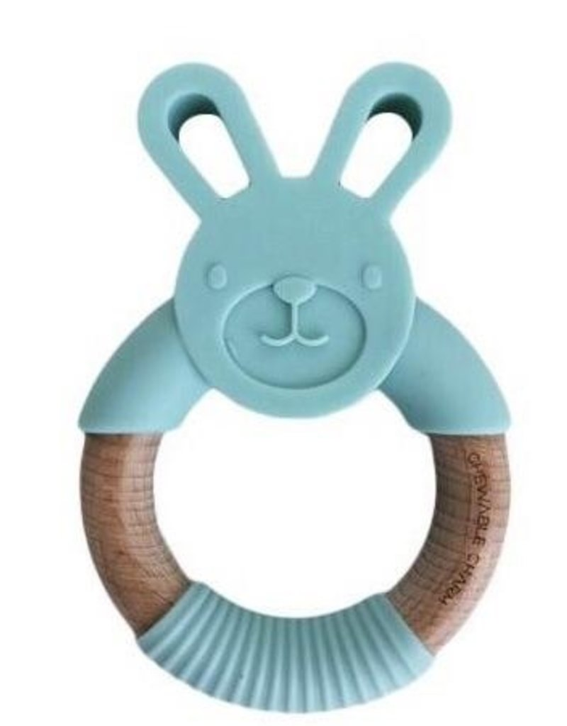 Chewable Charm Bunny Silicone + Wood Teether - Mint