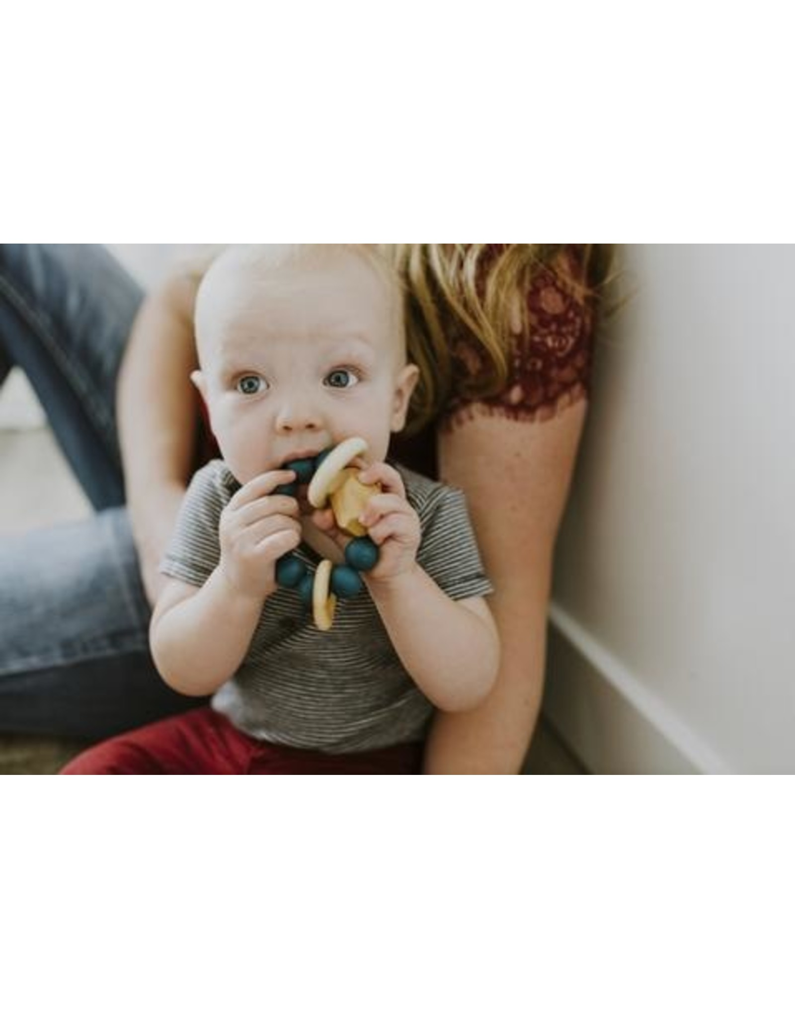 Chewable Charm Hayes Silicone + Wood Teether Ring- Peacock
