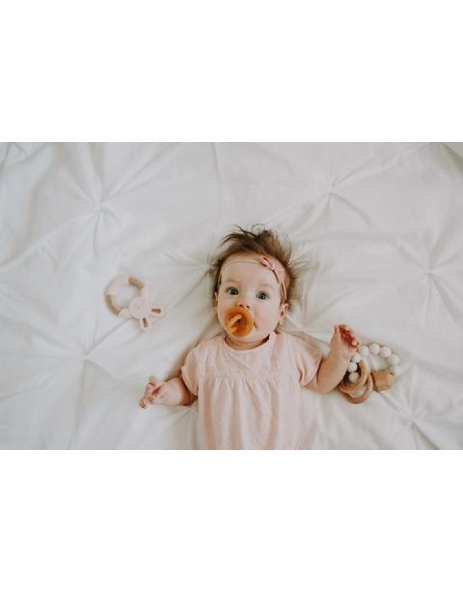 Chewable Charm Hayes Silicone + Wood Teether Ring-Rose Quartz