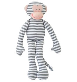 Alimrose Monkey Toy Rattle - Stripe Grey