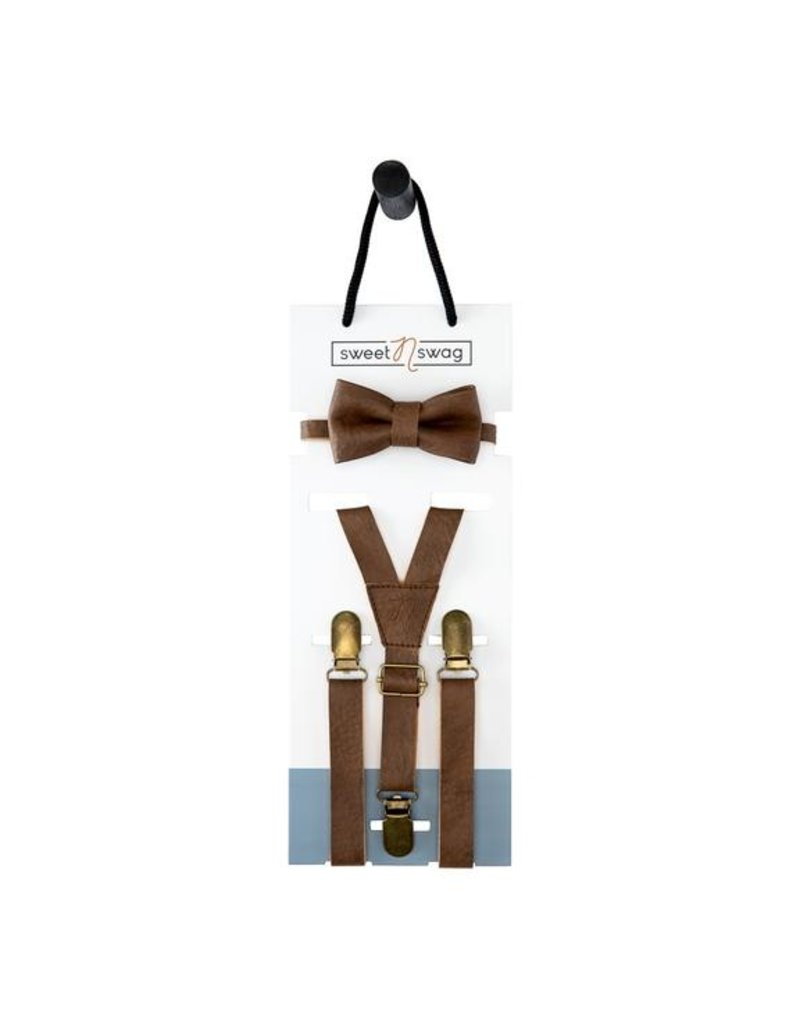 Sweet N Swag BOW TIE SET - THE PERFECT MATCH - WALNUT
