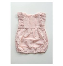 Miss Rose Sister Violet Linen and Lace Romper