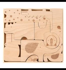 Petit Collage Safari Wood Puzzle & Play Set