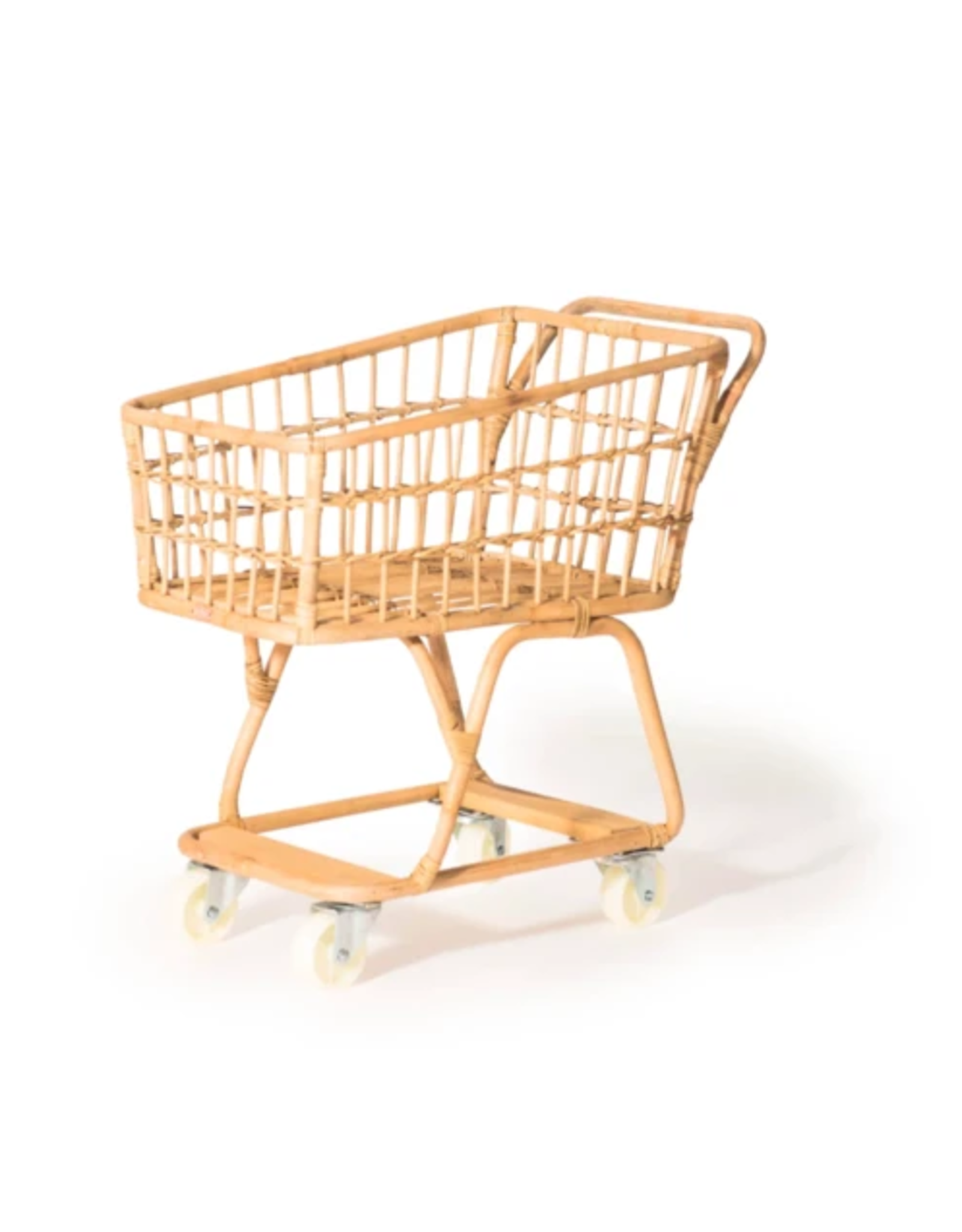 Poppie Toys Rattan Handmade Mini Shopping Cart
