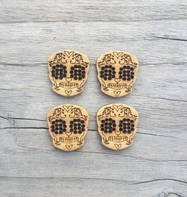 Katrinkles Buttons & Tools Katrinkles Buttons & Tools - Skull Stitchable Buttons - Card of 4