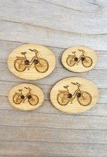 """Katrinkles Buttons & Tools Bicycle Buttons - Card of 4 - 3/4 x 1/2"""""""