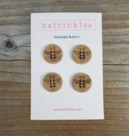 Katrinkles Buttons & Tools Katrinkles Buttons & Tools - Honey Bee Buttons - Card of 4 - 3/4""