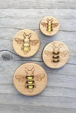 Katrinkles Buttons & Tools Honey Bee Stitchable Buttons - Card of 4 - 1.25""