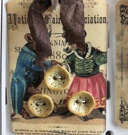 Cynthia Crane Pottery Cyntha Crane Pottery - Hollyhocks Buttons - Card of 3