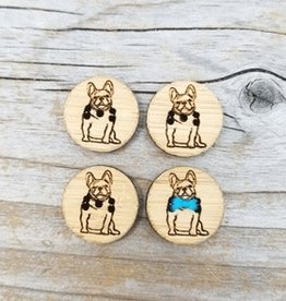 Katrinkles Buttons & Tools Katrinkles Buttons & Tools - French Bulldog Buttons - Card of 4