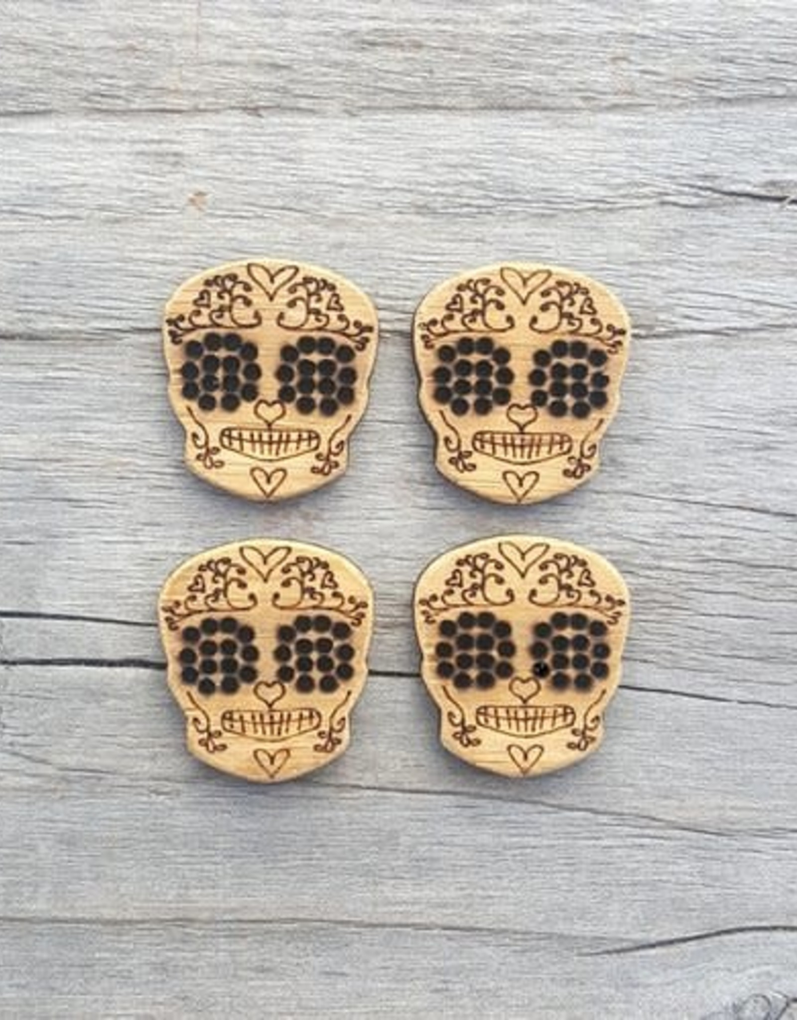 Katrinkles Buttons & Tools Skull Stitchable Buttons - Card of 4