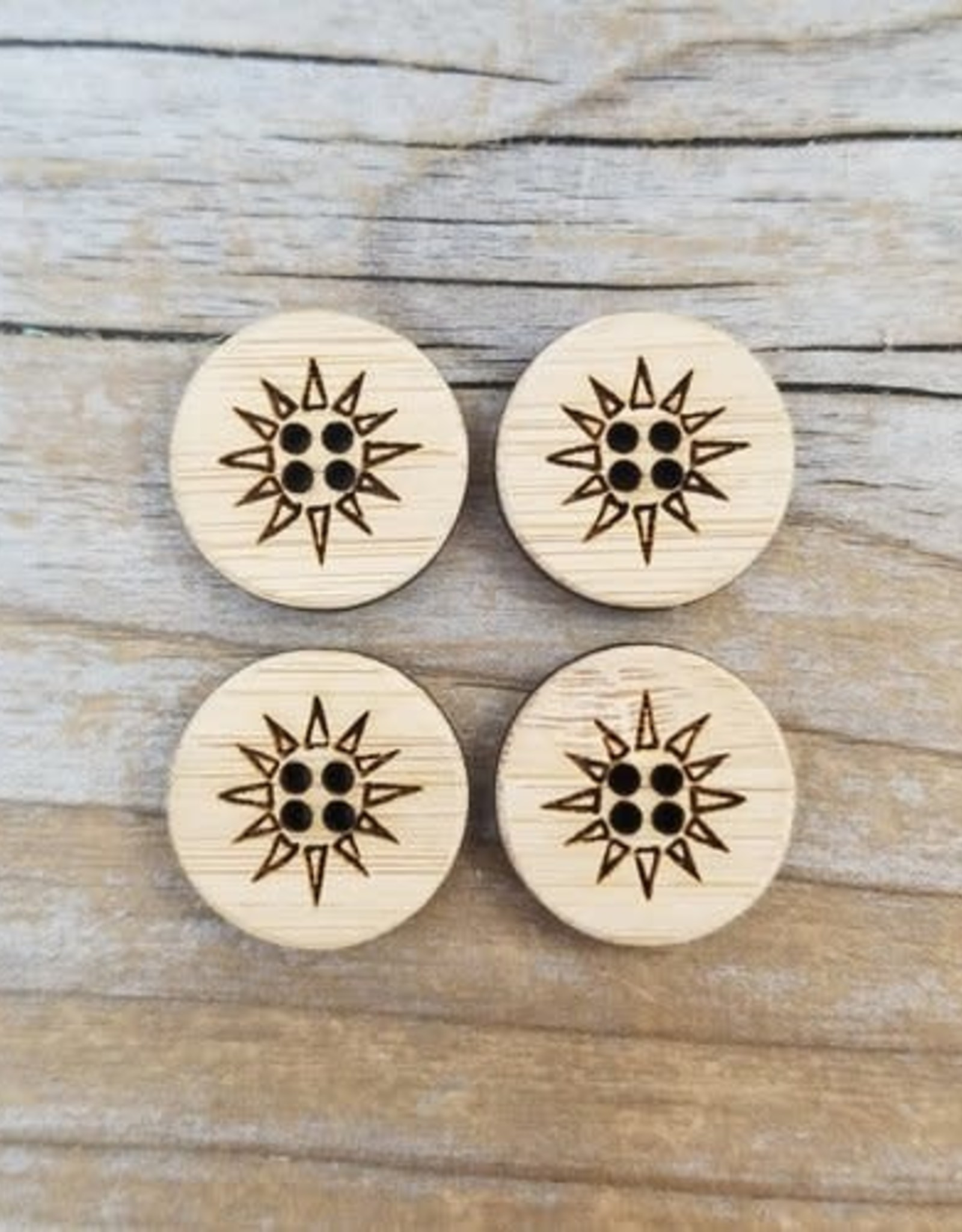 Katrinkles Buttons & Tools Sunburst Buttons - Card of 4 - 1""