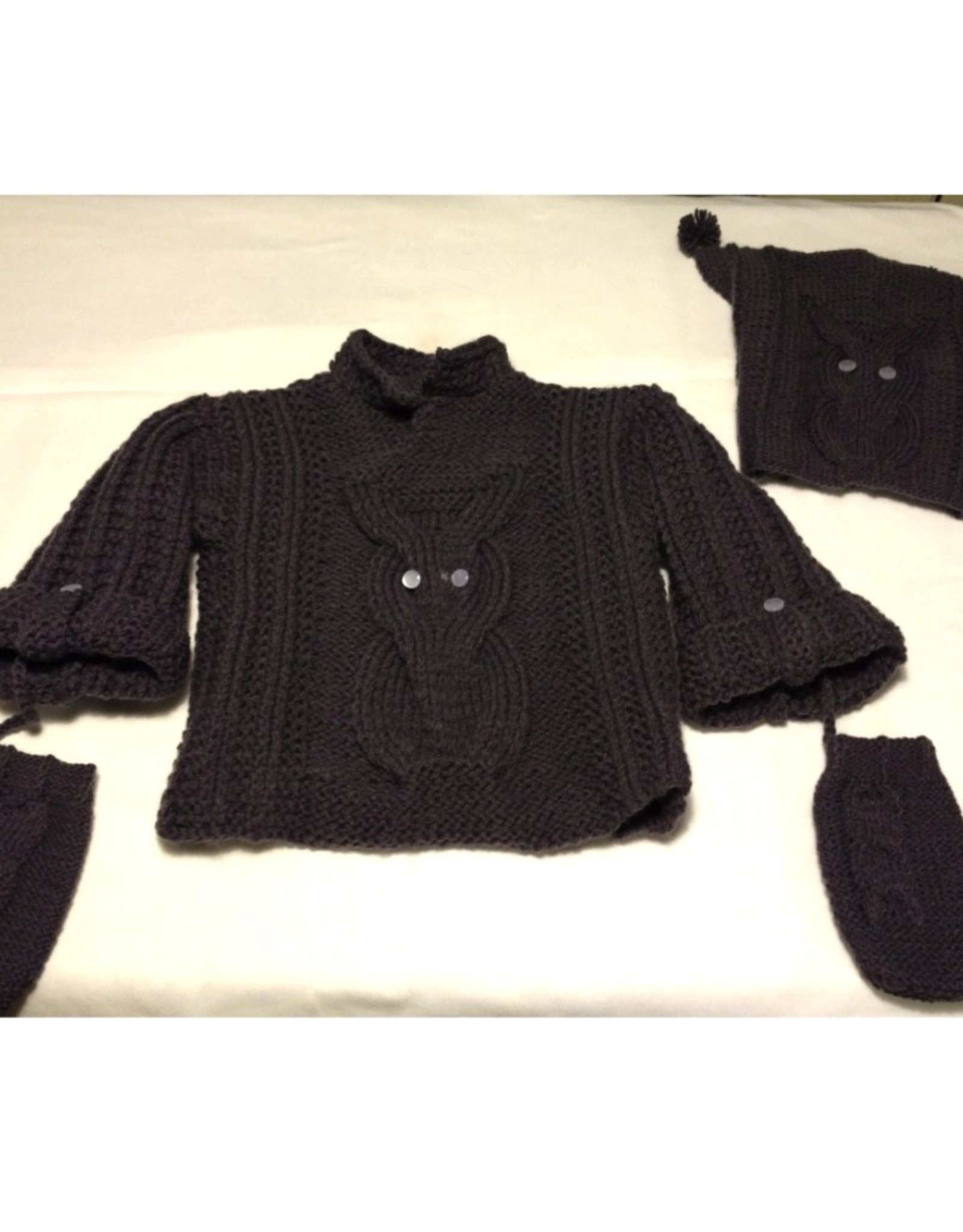 Susie Q Owl Sweater, Hat and Mittens