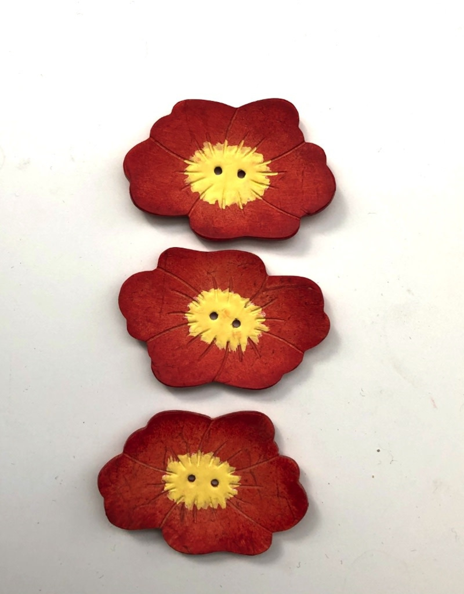 Renaissance Red Flower Button