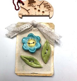 Cynthia Crane Pottery Cynthia Cranes Pottery Flower and Leaves Buttons - Card of 3