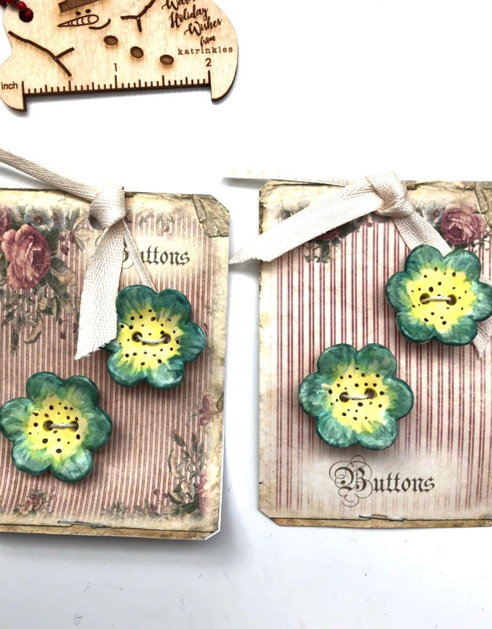 Cynthia Crane Pottery Cynthia Cranes Pottery Flower Buttons - Card of 2