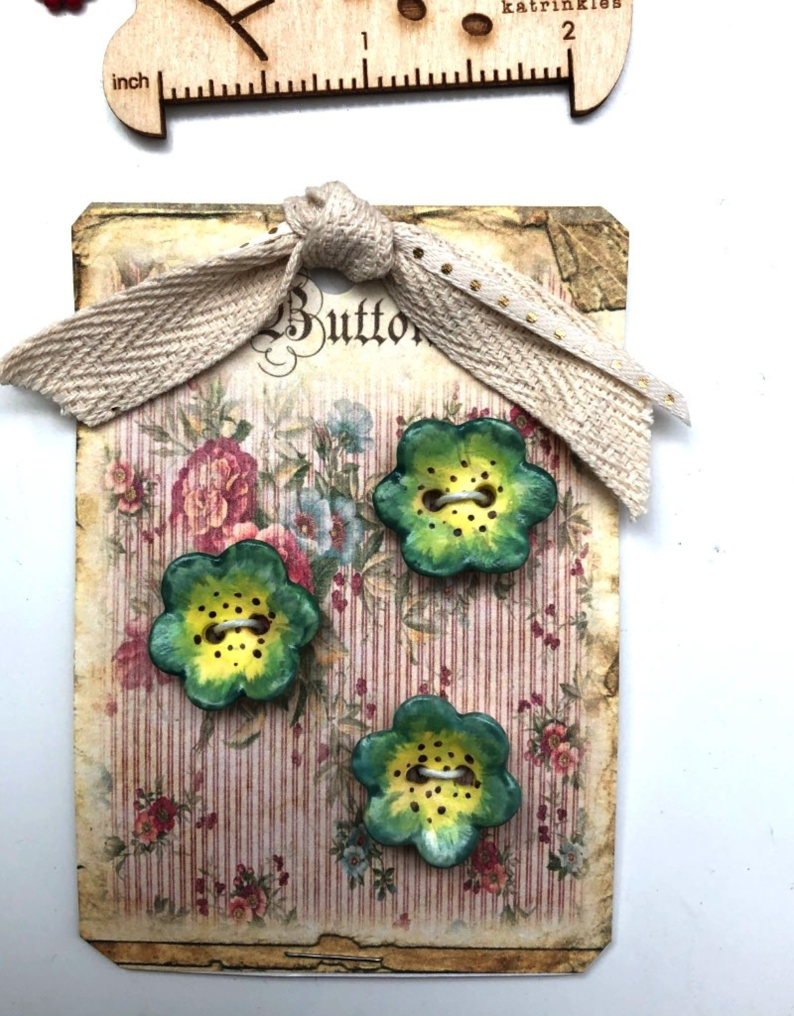 Cynthia Crane Pottery Cynthia Cranes Pottery Flower Buttons - Card of 3