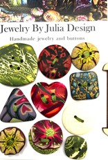 Jewelry by Julia Design Flower Button Green/Brown (on misc card)