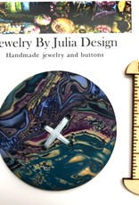 Jewelry by Julia Design Blue/Gold Large Round Button