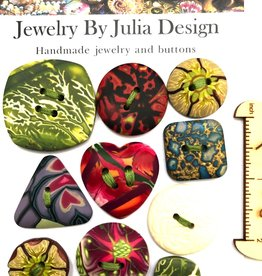 Jewelry by Julia Design Round Pink/Green Flower Button (on misc card)