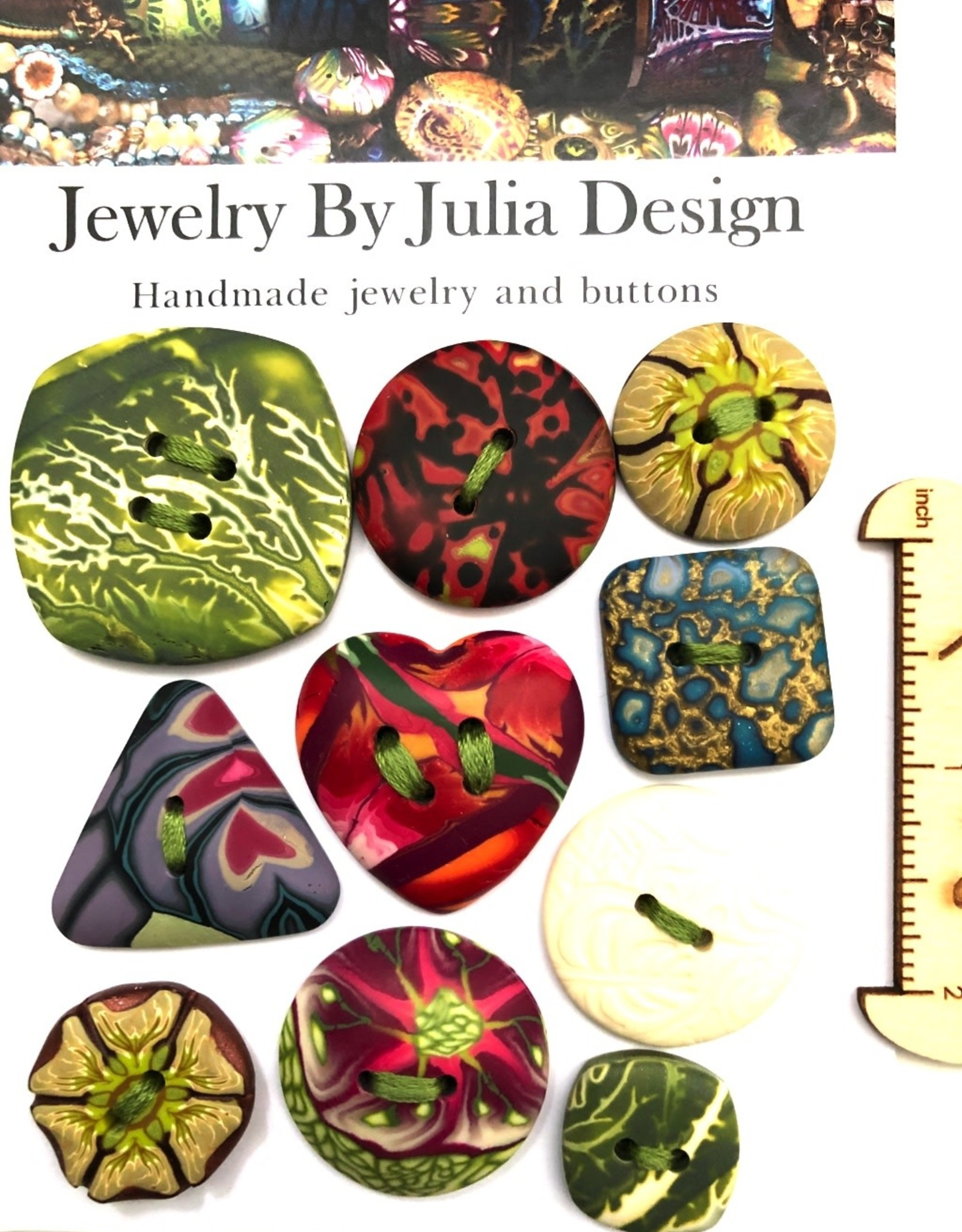 Jewelry by Julia Design Green/White Square Button (on misc card)
