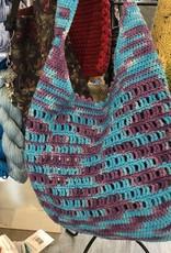 Turquoise/purple tote