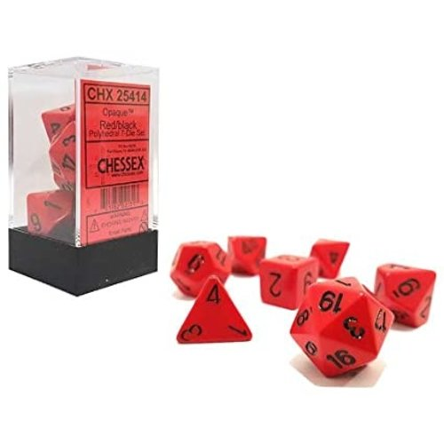 Chessex DICE SET 7 OPAQUE: RED / BLACK