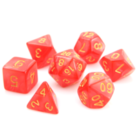 SWIRL DICE SET 7 RED w/GOLD