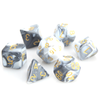 POLYMER DICE SET 7 MARBLE WHITE/BLACK